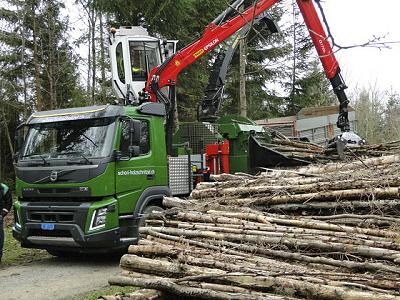 Schori Holzschnitzel Grosshacker mit Kran Volvo FMX 50ps mit KPC Wüst Hacker im Betrieb